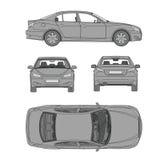 Autolinie abgehobener Betrag vier alle Ansichtoberseite-Rückseitenversicherung, Mietschaden, Bedingungsberichtsformplan stock abbildung