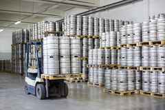 Autoloader loading beer kegs in stock brewery Ochakovo Royalty Free Stock Photo