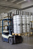 Autoloader loading beer kegs in warehouse brewery Ochakovo Stock Photo