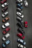 Automóveis de passageiros na jarda, vista superior Imagens de Stock