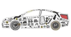 Automóvel de passageiros pintado e construído do uma variedade de ilustração royalty free