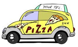 Automóvil de la pizza Foto de archivo libre de regalías