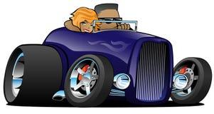 Automóvil descubierto de color morado oscuro del coche de carreras de la cómoda con patas altas con el conductor masculino y el e fotografía de archivo