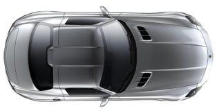 Automóvil descubierto de plata - visión superior Imagen de archivo