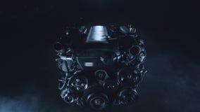 Automóvil que compite con el motor de combustión interna en un taller de reparaciones tecnológico metrajes