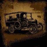 Automóvil retro y fondo retro del rasguño Fotografía de archivo