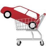 Automóvil rojo grande dentro de un carro de compras ilustración del vector