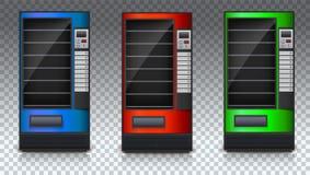 Automaat voor snacks of soda, voedsel en drank met lege planken Reeks van gekleurde automaat Automaat van groen Royalty-vrije Stock Afbeelding