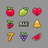 Automat do gier symboli/lów ikony ustawiać Kasyno uprawia hazard automat do gier ikony owocowy cytryny siedem dzwon ilustracji