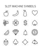 Automat do gier symboli/lów ikony powiązany wektorowy set Obrazy Stock