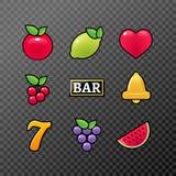 Automat do gier symboli/lów ikony ustawiać Kasyno uprawia hazard automat do gier ikony owocowy cytryny siedem dzwon royalty ilustracja