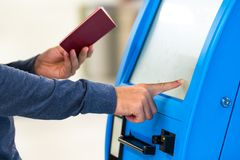 Automat for printing boarding tickets in airport Royalty Free Stock Image