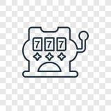 Automata do gier pojęcia wektorowa liniowa ikona odizolowywająca na przejrzystym royalty ilustracja