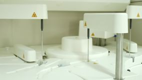 Automate chemistry running test in lab. White automate chemistry running test in lab stock video footage