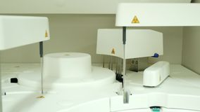Automate chemistry running test in lab. White automate chemistry running test in lab stock video