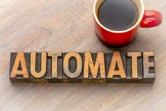 Automate - word abstract in vintage wood type. Automate - word abstract in vintage letterpress wood type with a cup of coffee royalty free stock images