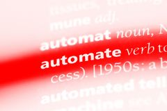 Automate. Word in a dictionary.  concept stock photo