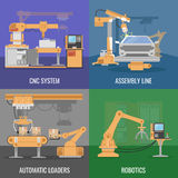 Automated Assembly Icon Set. Four square automated assembly icon set with descriptions of cnc system assembly line automatic loaders and robotics vector Stock Images