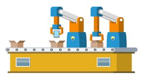 Assembly line. Automated conveyor system. Royalty Free Stock Images