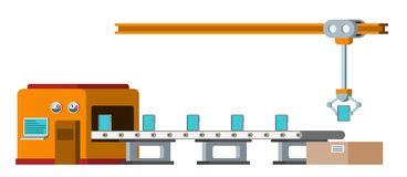 Assembly line. Automated conveyor system. Royalty Free Stock Photo