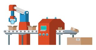 Assembly line. Automated conveyor system. Royalty Free Stock Photos