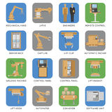 Automated Assembly Square Icon Set Royalty Free Stock Photo