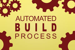 Automated Build Process concept. AUTOMATED BUILD PROCESS sign concept illustration with brown gear wheel figures on pale brown background Stock Photos