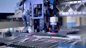 Automated citcuit board manufacturing machine. 4K. stock footage