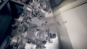Automated CNC machine. Automated drilling CNC machine works stock video footage