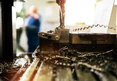 Automated drilling machines. Processing metalwork for assembly robots royalty free stock photo