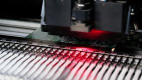Automated Electronic circuit board production stock footage