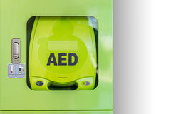 Automated external defibrillator AED. An automated external defibrillator AED activate heart attack machine Royalty Free Stock Images