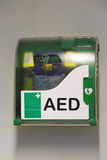 Automated external defibrillator. Emergency device at wall Royalty Free Stock Photography
