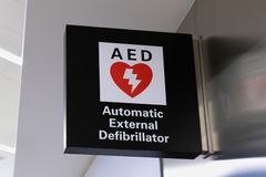 External defibrillator sign and logo. AED is used to treat persons with heart attacks