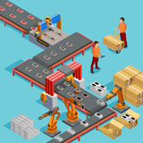 Automated Factory Production Line Isometric Poster Royalty Free Stock Photo