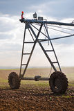 Automated Farming Irrigation Sprinklers System in Operation Stock Image
