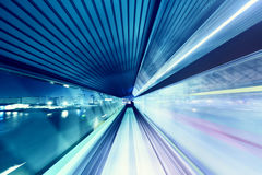 Automated guide-way train at night Royalty Free Stock Image