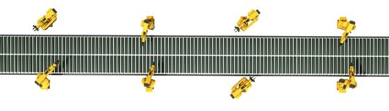 Automated industrial conveyor top view 3d rendr on white no shad Stock Photo