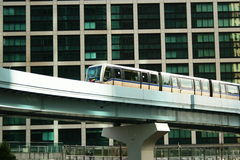 Automated Light Railway Train operating in Shiodome, Tokyo Stock Image