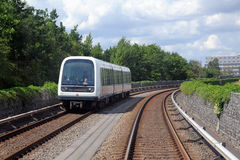 Automated metro train in Copenhagen, Denmark. Front view of an automatic metro (subway) train on railroad in Copenhagen, Denmark Stock Image
