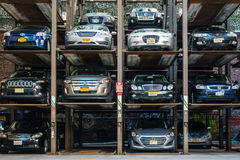 Automated multi-storey car park in New York. Royalty Free Stock Photo