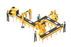 Automated production line, factory conveyor with workers and robotic arms isometric industrial vector concept royalty free illustration