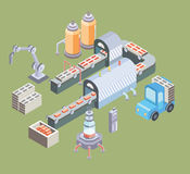 Automated production line. Factory floor with conveyor and various machines. Vector illustration in isometric projection Stock Image