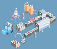 Automated production line. Factory floor with conveyor and various machines. Vector illustration in isometric projection Royalty Free Stock Photo