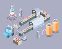 Automated production line. Factory floor with conveyor and various machines. Vector illustration in isometric projection Royalty Free Stock Image