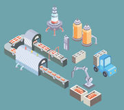 Automated production line. Factory floor with conveyor and various machines. Vector illustration in isometric projection Stock Photos