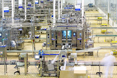Automated production line in modern dairy factory. Luannan County, February 18th: China Mengniu Dairy Company Limited, a modern dairy processing production line Stock Photo
