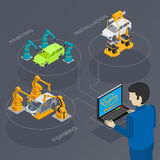 Automated production. Line under the control of a computer to assemble cars Royalty Free Stock Image