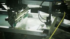 Automated Silk Screening Machine Close up stock video
