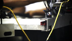 Automated Silk Screening Machine Close up stock video footage